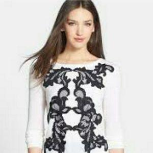 Diane Von Furstenberg Shara Black Lace Sweater